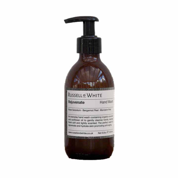 Organic anti bacterial and anti aging handwash by British independent brand Russel & White