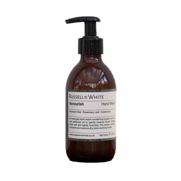 Organic anti bacterial and restorative handwash by British independent brand Russel & White