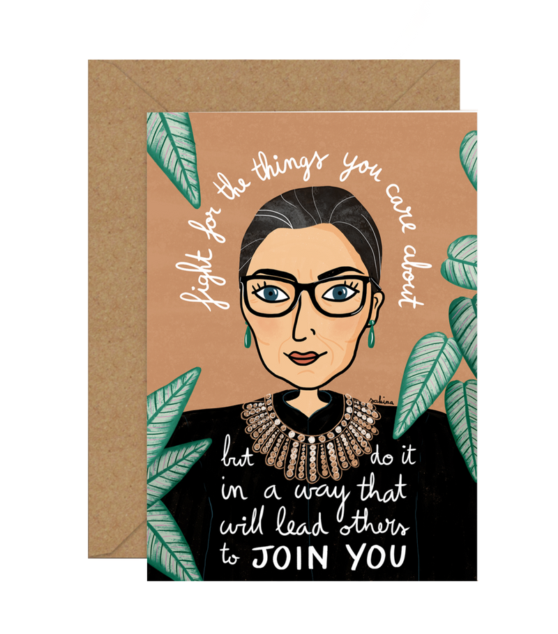 Illustrated Greeting Card by Sakina Saidi 'Ruth Ginsburg' | Available at Cuemars London