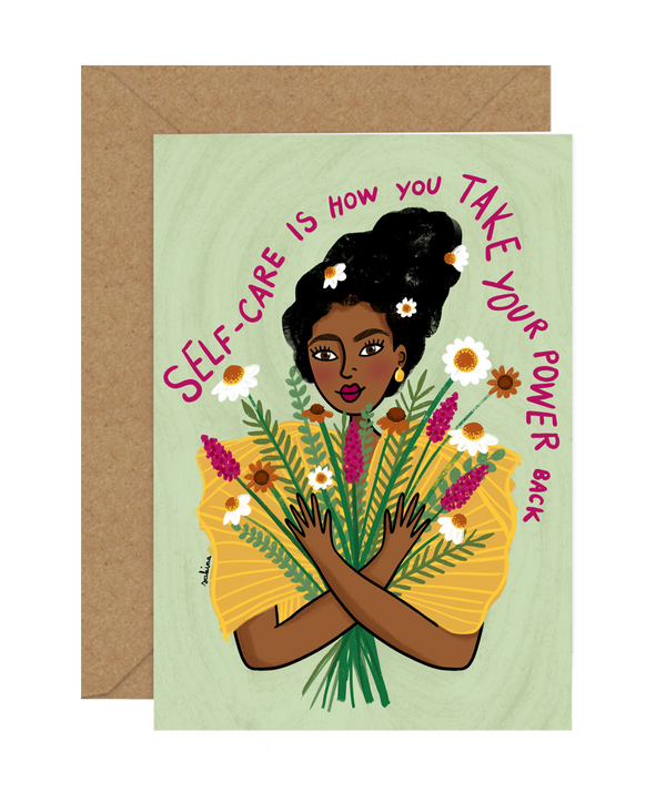 Illustrated Diversity / Feminist Greeting Card by Sakina Saidi 'Self Care is how you take your power back'' | Available at Cuemars London