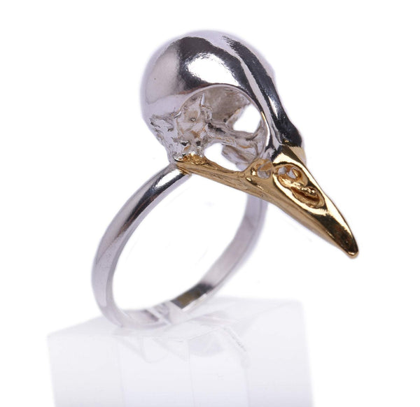 Small Magpie Skull Ring with sterling silver x 24ct gold plated beak by MISAN