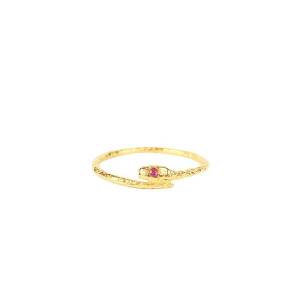 Gold vermeil Handmade Snake ring with Ruby eyes by Momocreatura