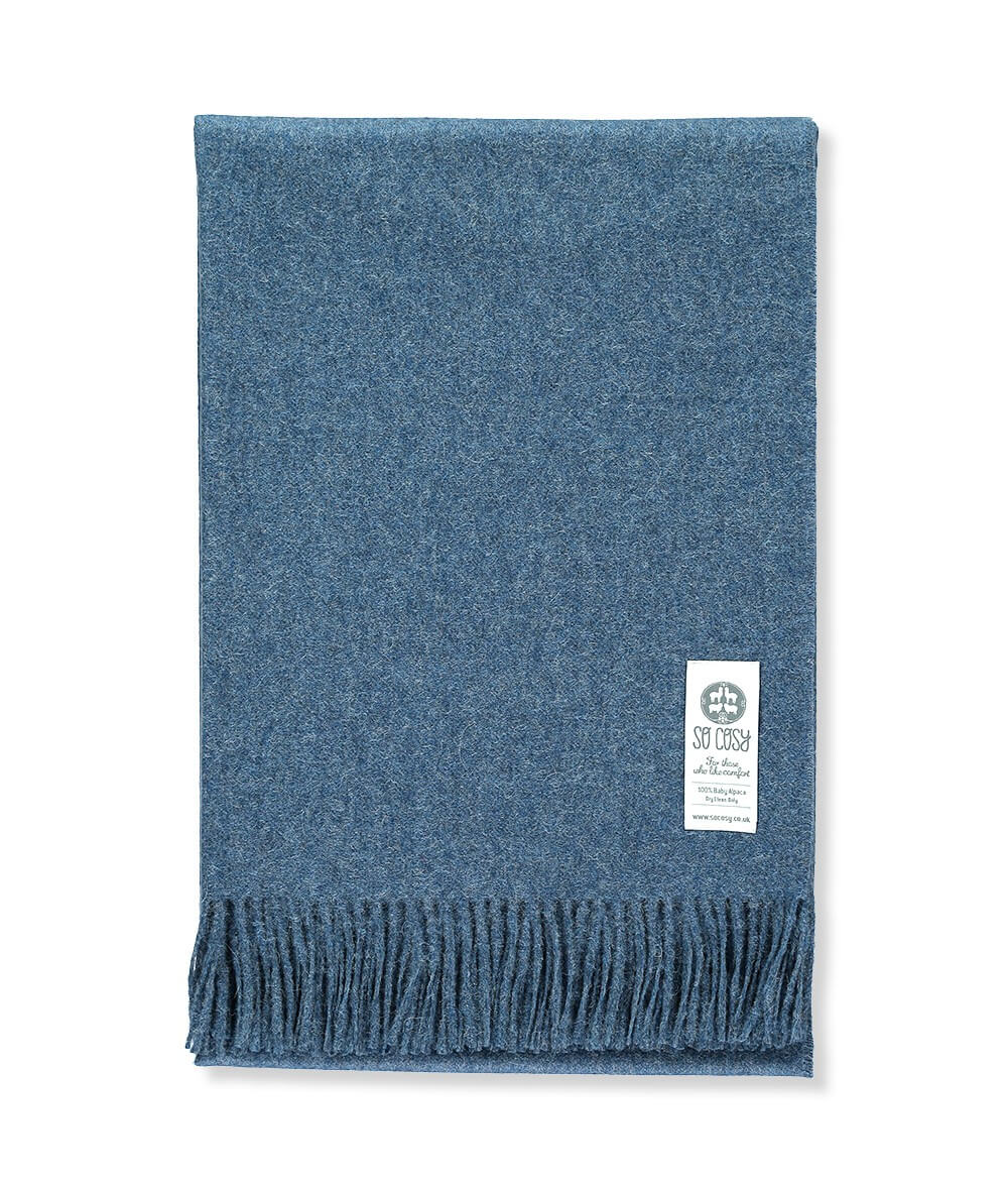 picture of handmade super soft baby alpaca throw by so cosy in blue indigo melange available online and at the store