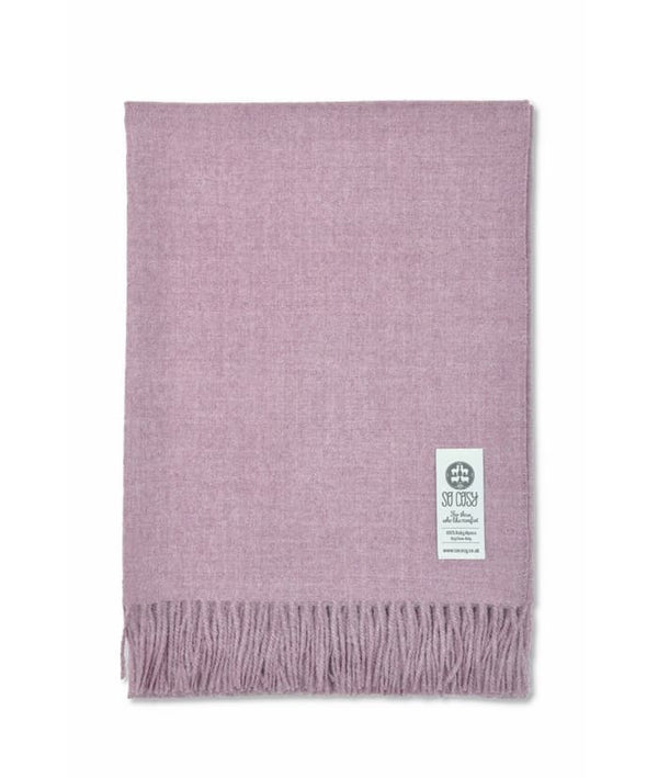 picture of handmade super soft baby alpaca throw by so cosy in chalk pink melange available online and at the store