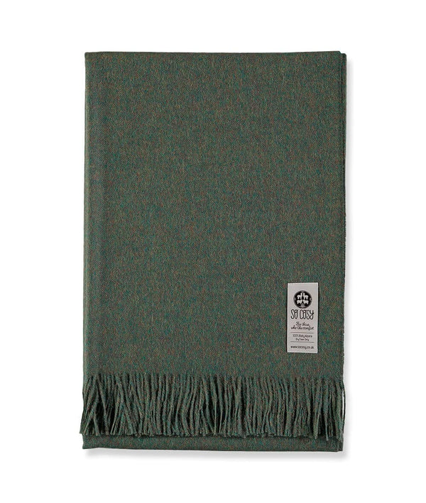 picture of handmade super soft baby alpaca throw by so cosy in olive green available online and at the store