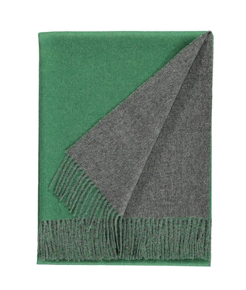 details of Woven grey and green reversible Baby Alpaca soft blanket designed in the UK by So Cosy