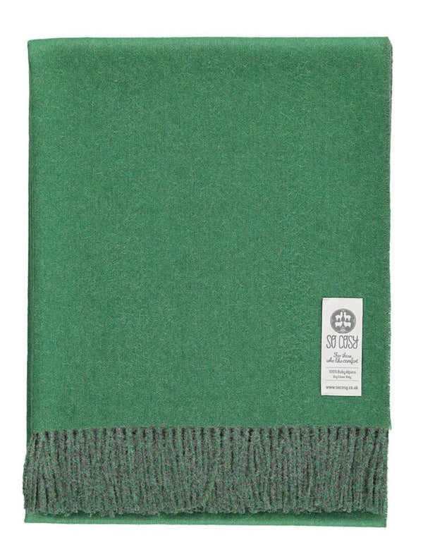Woven grey and green reversible Baby Alpaca soft blanket designed in the UK by So Cosy