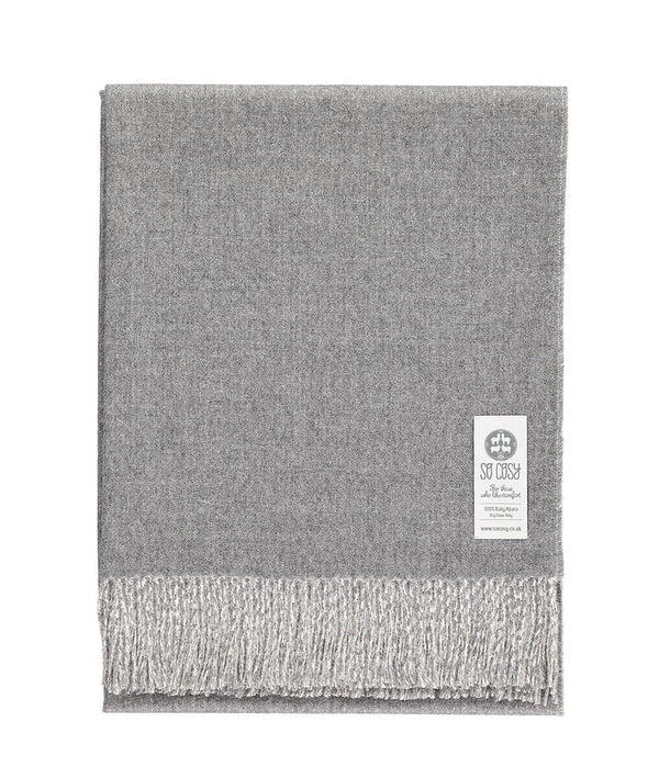 Woven light grey and white reversible Baby Alpaca soft blanket designed in the UK by So Cosy