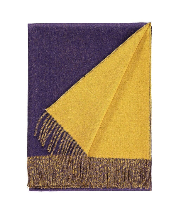 details of Woven purple and yellow reversible Baby Alpaca soft blanket designed in the UK by So Cosy