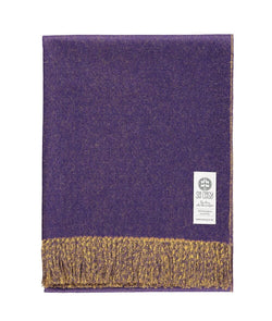 Woven purple and yellow reversible Baby Alpaca soft blanket designed in the UK by So Cosy