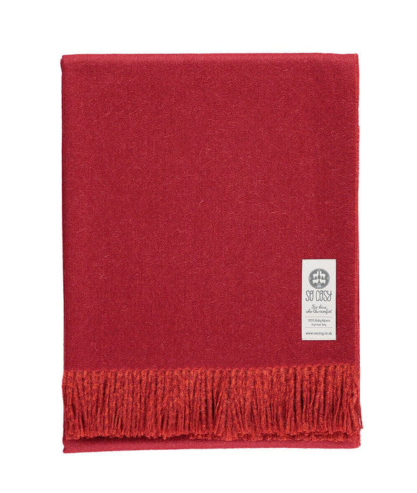 Woven red and burnt orange reversible Baby Alpaca soft blanket designed in the UK by So Cosy