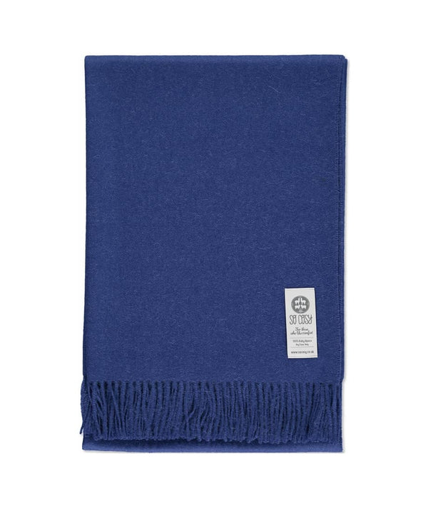 picture of handmade super soft baby alpaca throw by so cosy in ribbon blue available online and at the store