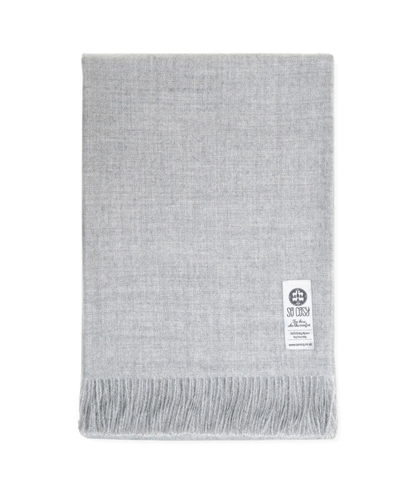 picture of handmade super soft baby alpaca throw by so cosy in silver grey available online and at the store