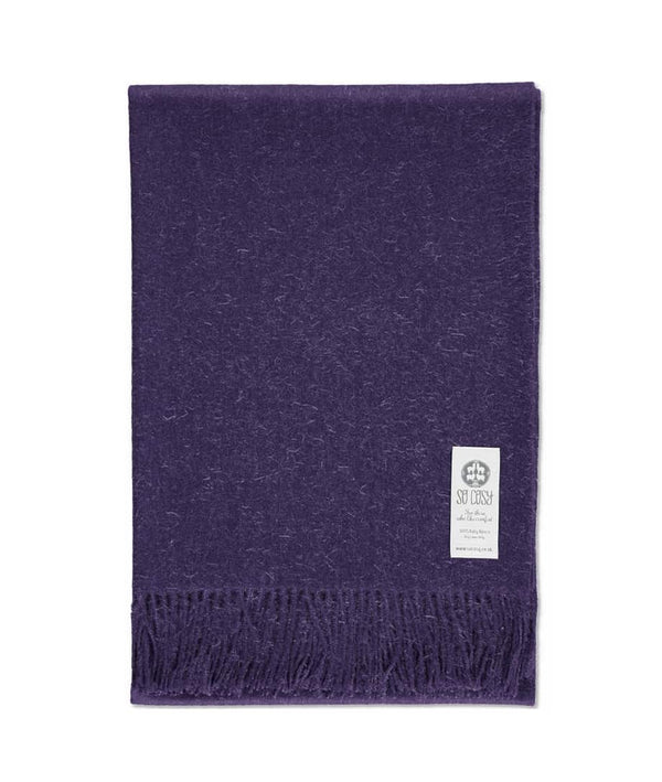 picture of handmade super soft baby alpaca throw by so cosy in violet available online and at the store