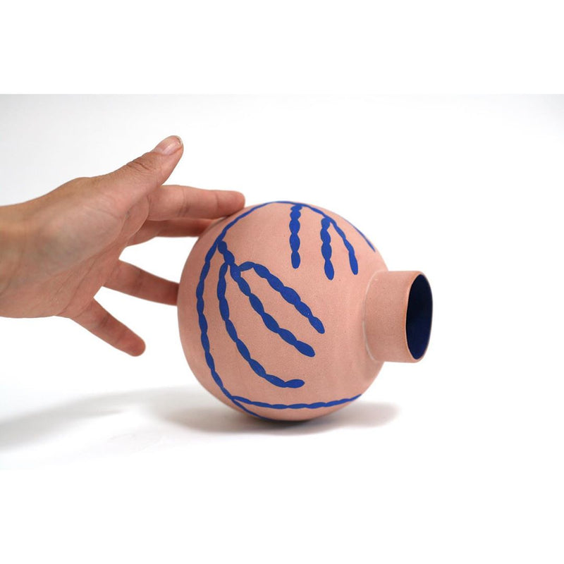 handmade pink and blue ceramic vase by sophie alda