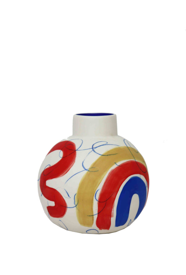 rainbow flower vase handmade by sophie alda in white, blue, ochre and red
