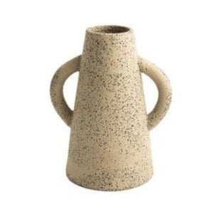 geometric ceramic speckled vase cream