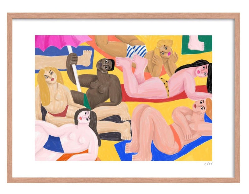Picture of The Beach, an art print made and signed by French Artist Cépé, now available at cuemars.com