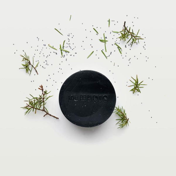 handmade juniper and charcoal organic body soap by munio available at cuemars