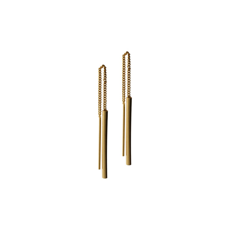 Fresh and minimalist gold chain threader earrings Harper by Keep it Peachy now online on Cuemars