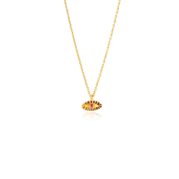 22ct gold plated tiny ruby eye necklace by Momocreatura