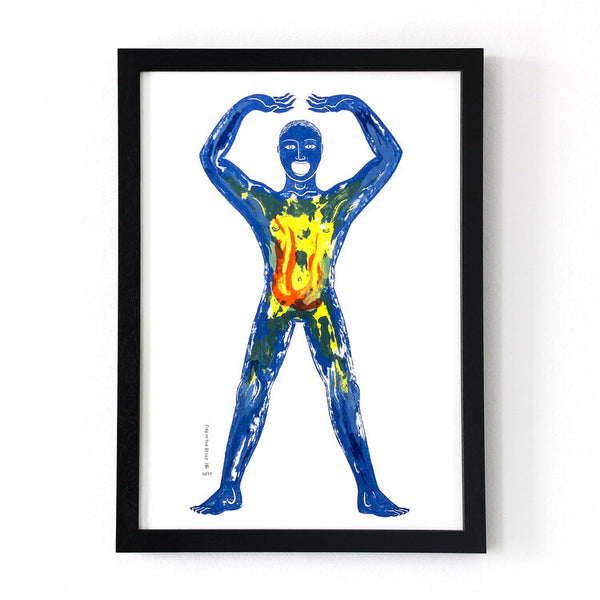 Framed Tom Berry 6 layer screen print illustration Fire in the Belly limited edition of 27