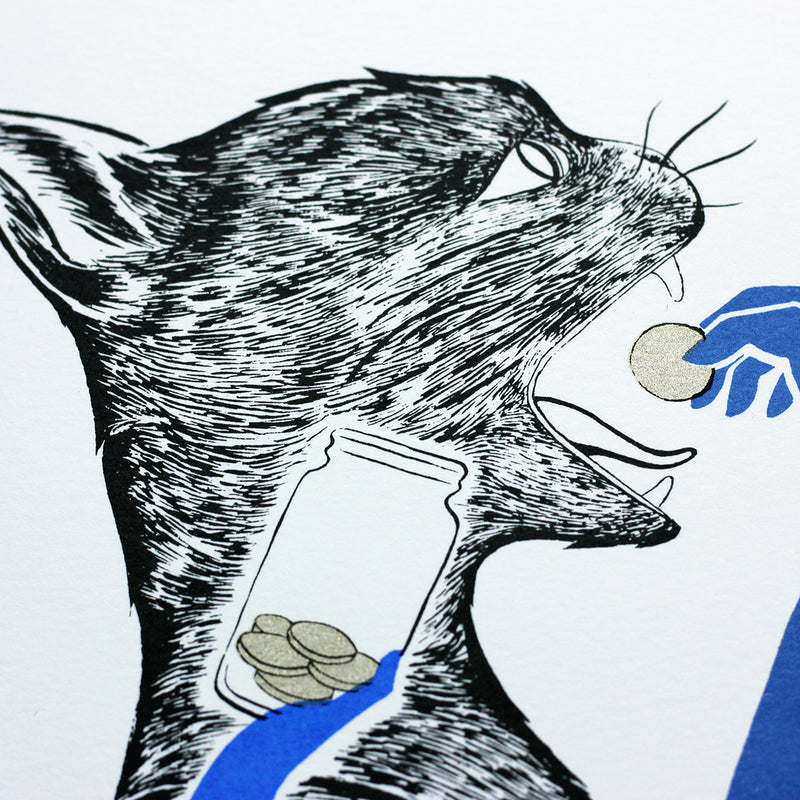 Details of Tom Berry's gin cat Old Tom limited edition hand screen printed illustration inspired by Gin Act 1736 client introducing coin into Tomcat