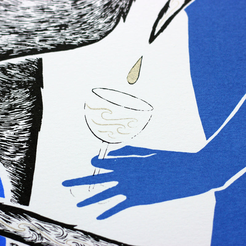 Details of Tom Berry's gin cat Old Tom limited edition hand screen printed illustration inspired by Gin Act 1736 client receiving a dram of gin