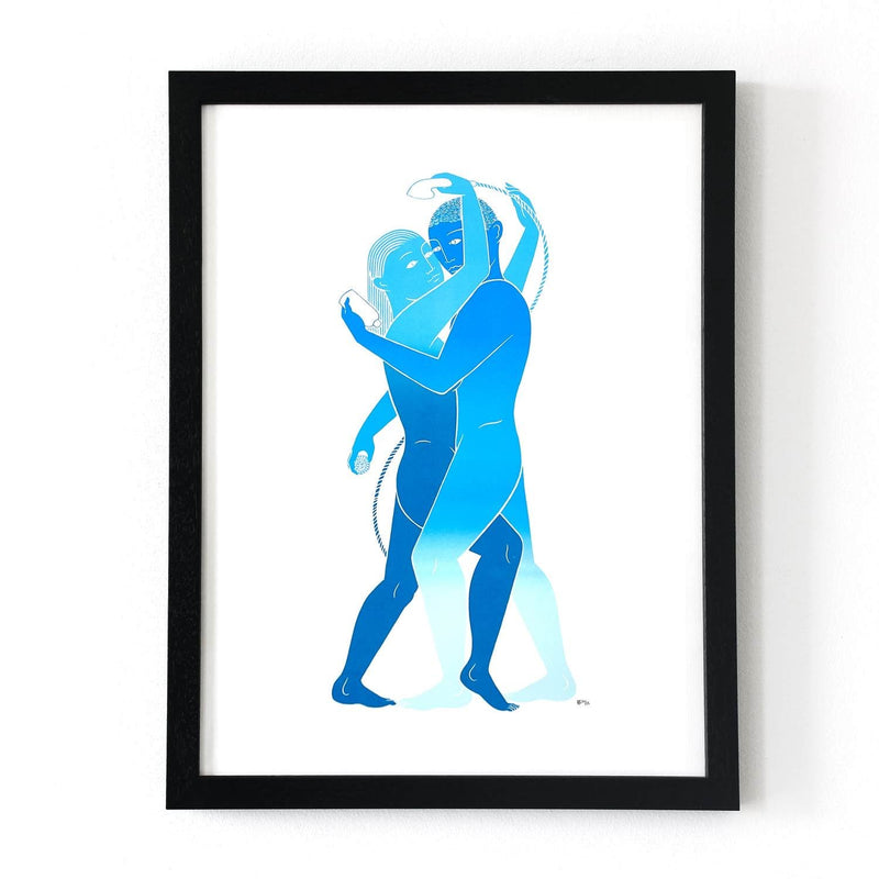 Framed Tom Berry limited edition screen print coupling in the shower signed and numbered