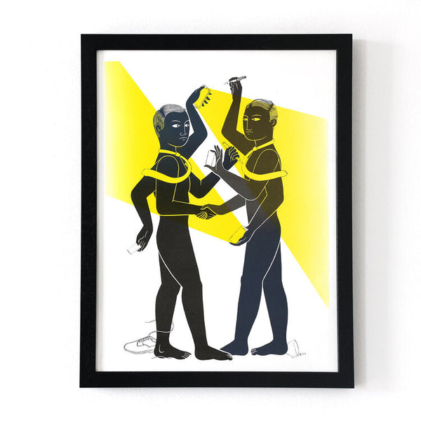 Framed Work meeting screen print by Tom Berry limited edition of 17