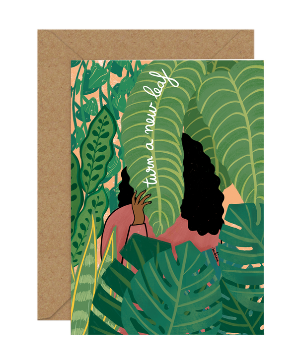 Illustrated New Leaf Greeting Card by Sakina Saidi 'Turn over a new leaf' | Available at Cuemars London