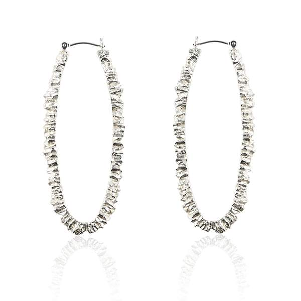 solid silver long oval textured hoop earrings by niza huang available at cuemars.com