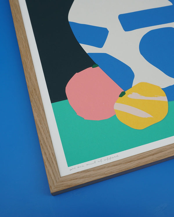We are out of office - A still life with a ming vase - screen print