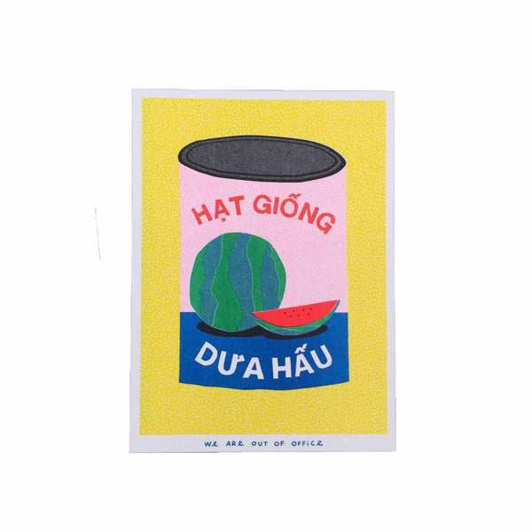 We are out of office - can of watermelon seeds - colourful risograph print