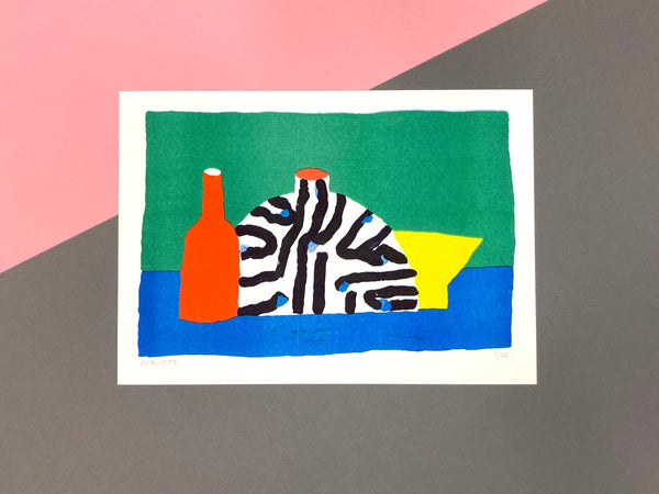We are out of office - still life with vase - risograph print