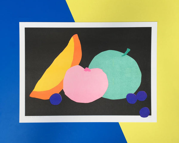 We are out office- fruity life still - risograph print