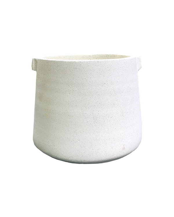 White ceramic plant pot 13.5cm diameter geometric shaped with handles