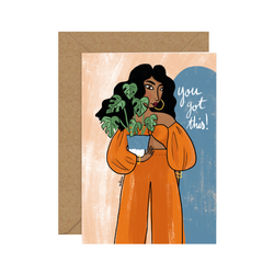 Illustrated Diversity / Feminist Greeting Card by Sakina Saidi 'You got this!' | Available at Cuemars London