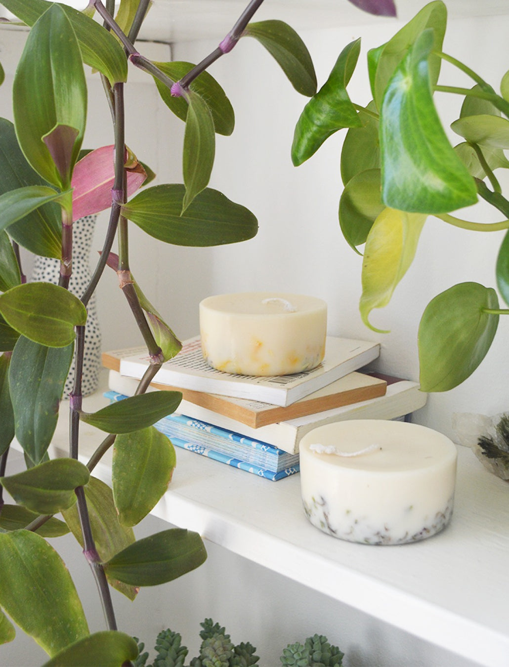 sustainable candle with essential oil in terracotta container