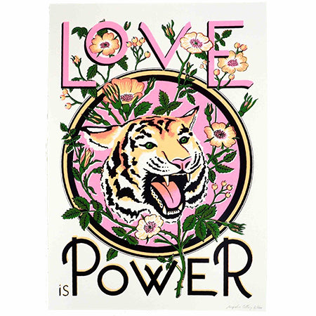 Illustration Love is Power in neon pink, black and peach colours showcasing a tiger