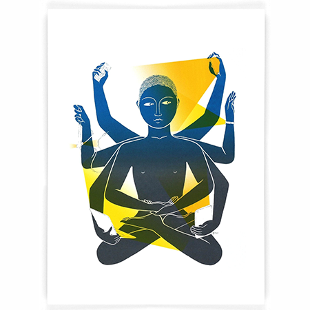 Screen print in different shades of blues and yellows showing a person with 8 arms holding technological items such as mobiles, tablets, headphones.