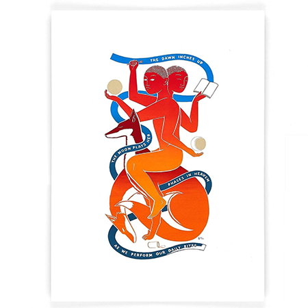 Screen Print in red, orange and blue of a person and a dog depicted in different daily activities with the text