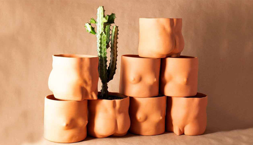 Group Partner Nude Planters in Terracotta on a brown paper backdrop