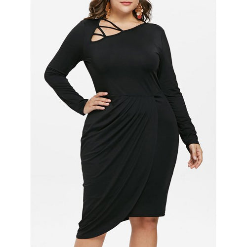 Plus Size Skew Collar Dress