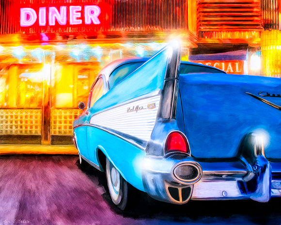 1957 Chevy Tail Fin - Classic Car Art Print