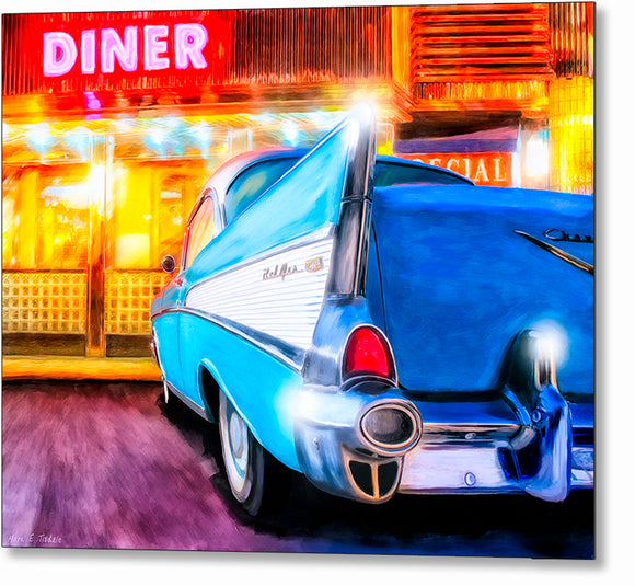 1957 Chevy Tail Fin - Classic Car Metal Print