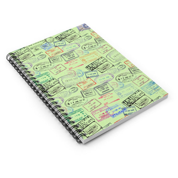 Perspective view of front cover of World Traveler Passport Stamp Pattern - Mint Green Spiral Notebook - Ruled Line