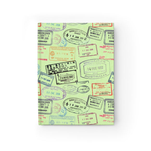 Front Cover View of World Traveler Passport Stamp Pattern - Mint Green Journal - Blank