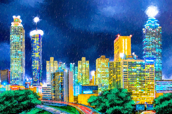 Atlanta Skyline At Night - Art Print