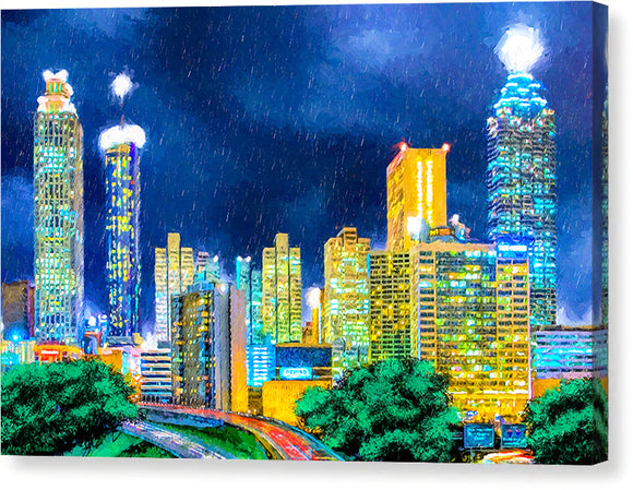 Atlanta Skyline At Night - Canvas Print